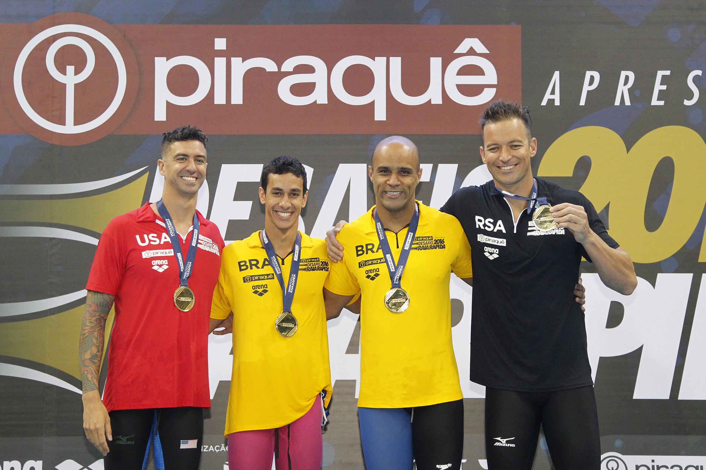 João Gomes Jr e Henrique Martins, venceram as provas de nado peito e borboleta, respectivamente/ Foto:Vitor_Silva/SSPress/Effect Sport